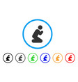 pray pose rounded icon vector image