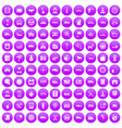 100 auto icons set purple vector image vector image