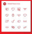 16 passion icons vector image vector image