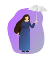 a woman in full growth standing under an umbrella vector image vector image