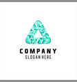 abstract triangle logo with pixel motif vector image vector image