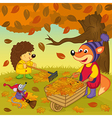 animals cleans leaves in forest vector image