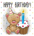 Bear with cake vector image vector image