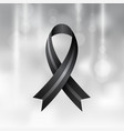 black ribbon mourning and melanoma symbol vector image