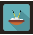 Bowl of rice with chopsticks icon flat style vector image vector image