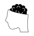 brain partly inside of head icon image vector image vector image