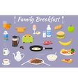 breakfast fresh food and drinks vector image vector image