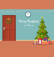 christmas interior with door and tree vector image vector image