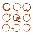 coffee cup rings dirty splashes and drops of tea vector image
