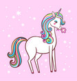 cute unicorn stands on a pink background vector image vector image