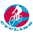 cyclist riding racing bike vector image vector image