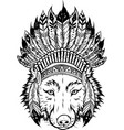 draw in black and white indian wolf with vector image vector image