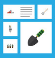 flat icon dacha set of flowerpot hay fork pump vector image vector image