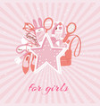 girls accessories fashion background with makeup vector image vector image
