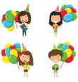 happy beautiful girls carrying colorful wrapped vector image vector image
