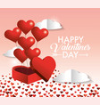 hearts balloons inside present gift of valentine vector image vector image