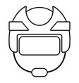 hockey helmet icon outline style vector image vector image