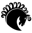 Horse with swirly hair logo vector image