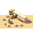 isometric 3d shipment truck with forklift and box vector image vector image