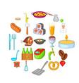 italian food icons set cartoon style vector image vector image