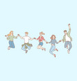 jumping people friendship leisure set concept vector image vector image