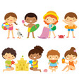 Kids at beach clipart set