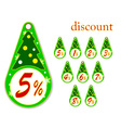 labels with Christmas tree for new years discounts vector image vector image