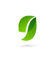 Letter G number 9 eco leaves logo icon design vector image vector image