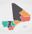 mali map with states and modern round shapes vector image