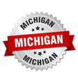 Michigan round silver badge with red ribbon vector image vector image
