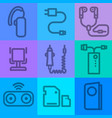 mobile phone devices icons vector image vector image
