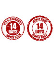 money back guarantee 14 days rubber stamp vector image vector image
