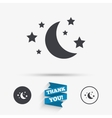 Moon and stars sign icon Sleep dreams symbol vector image vector image