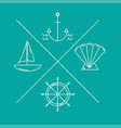 nautical logos or emblems in moden thin line style vector image
