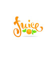 orange juice lettering composition for your vector image vector image