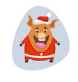 pig - santa claus in a red cap and red vector image vector image