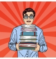 Pop Art Man Student Holding Stack of Books vector image vector image