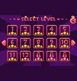 princess girlis style level select screen game ui vector image