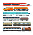railroad passenger trains and carriages flat vector image vector image