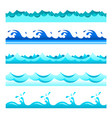 seamless blue water wave bands set for footers vector image vector image