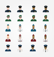 Set of policeman military pilot flight attendant vector image