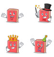 set of red book character with crazy magician king vector image