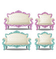 set vintage sofas and chairs furniture vector image