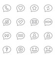 speech bubbles thin line icons set vector image