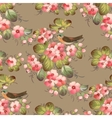 Trendy Seamless Flower Pattern with birds vector image vector image