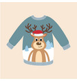 ugly christmas sweater with deer pattern vector image