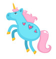unicorn with horn and tail pony with hearts vector image