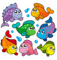 various cute fishes collection 2 vector image vector image
