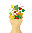 vegetables and fruits with paper bag vector image