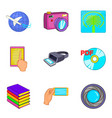 virtual existence icons set cartoon style vector image vector image